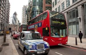 Double Decker bus in London. WATCH OUT!