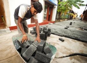 Brick Laying in Gaul Fort, Sri Lanka.